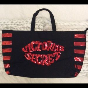 Victoria's Secret Large RED SEQUIN TOTE BAG ♥️